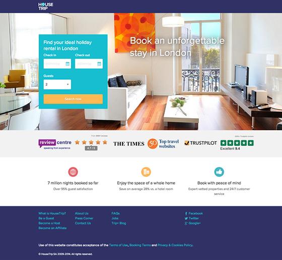 Housetrip Landing Page