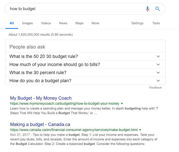 Example SERP showing results for How to Budget