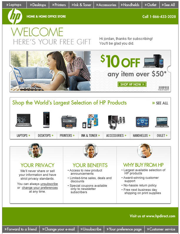 HP welcome email