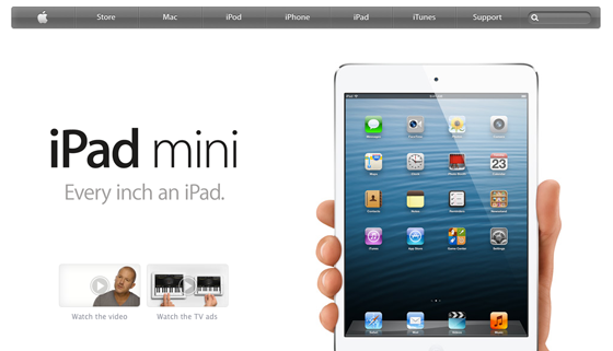 iPad Mini Landing Page Colors