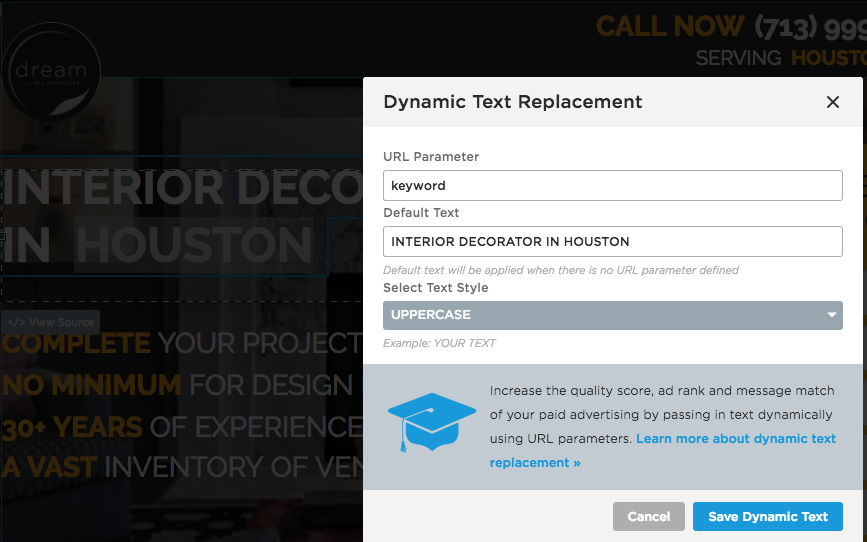 Dynamic Text Replacement in Unbounce