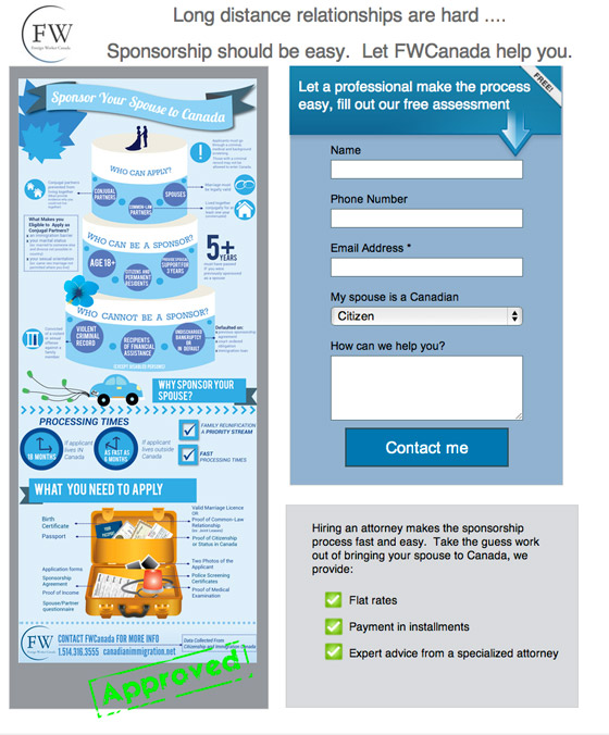 immigration to canada landing page