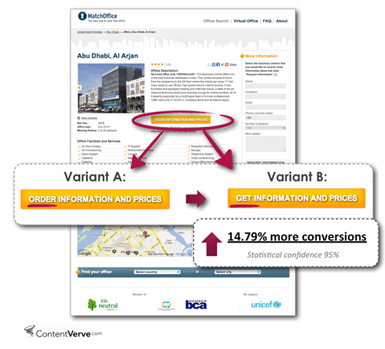 Increasing conversion rates by tweaking the CTA