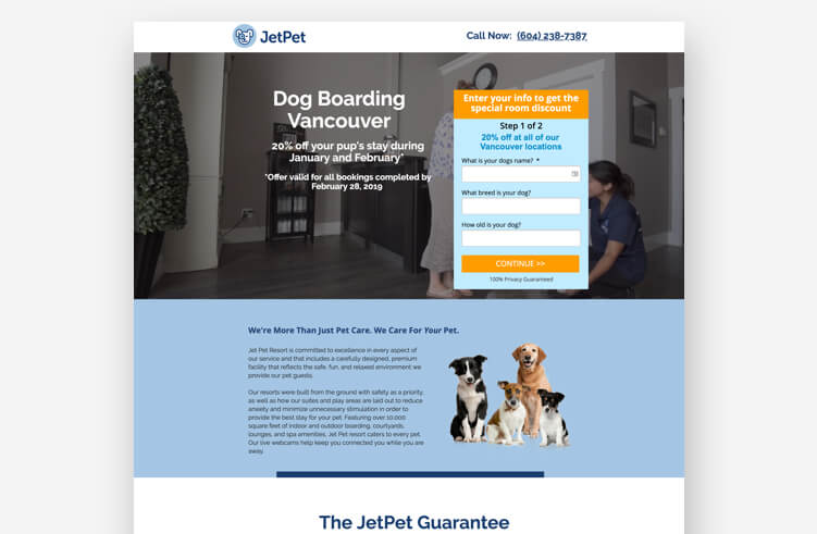 Most Inspiring Landing Page Example: Jet Pet