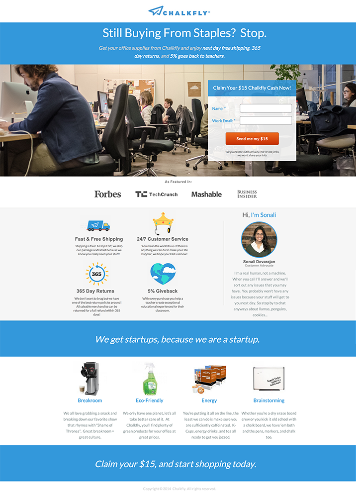 Josh Frank landing page example (before)