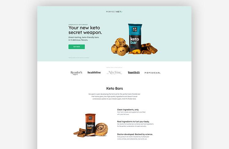 Perfect Keto keeps the call to action top of mind with 4 CTA buttons to purchase the bars.