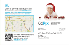 KidPix hypothetical postcard with QR code driving directions