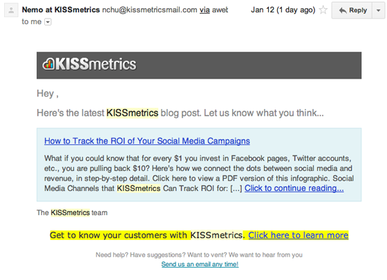kissmetrics high converting email