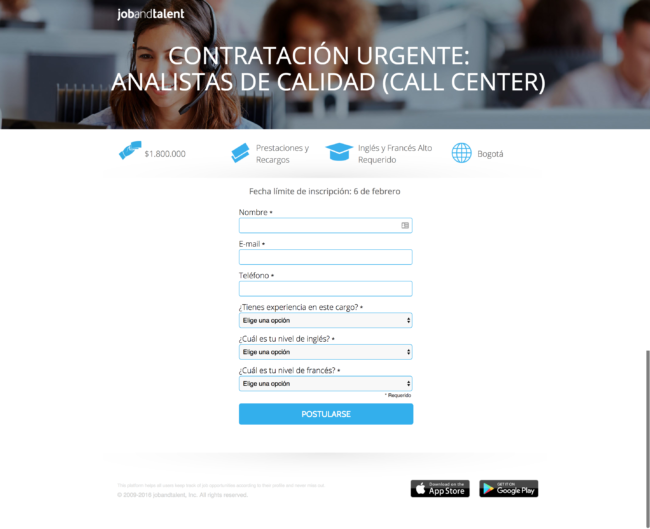 ejemplo de landing page real unbounce job and talent