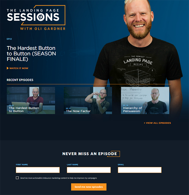 Landing Page Sessions page