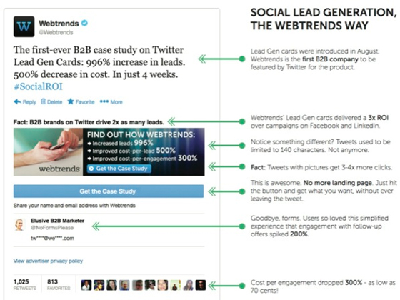 Lead gen examples: Twitter cards