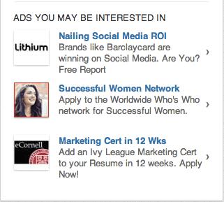 linkedin ads sidebar