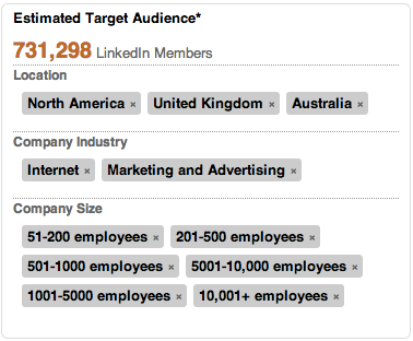 linkedin estimated target audience