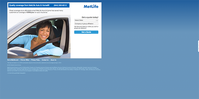 Metlife landing page example and critique]