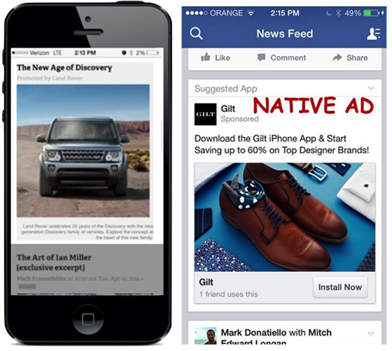 Native advertising example: mobile and social ads