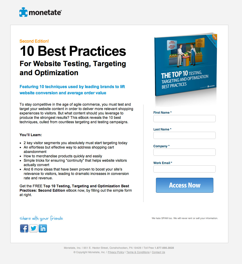 25 smart landing pages for collecting leads 10 tips for your next 2 monetate ebook fandeluxe Choice Image