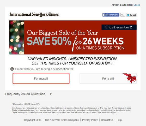 New York Times Landing Page example
