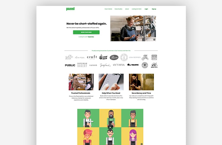 Great landing page examples: Pared