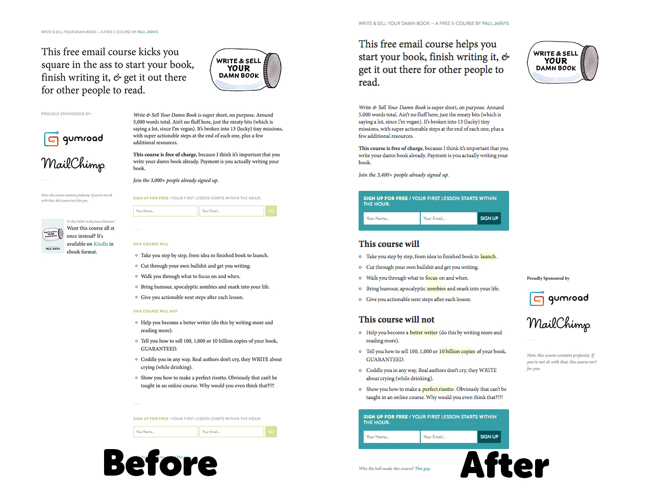 Paul Jarvis landing page example (before and after)