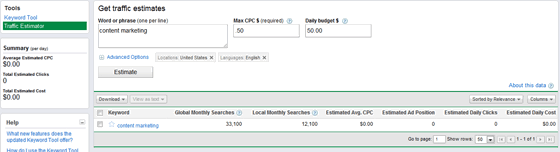 Pay Per Click Traffic Estimator