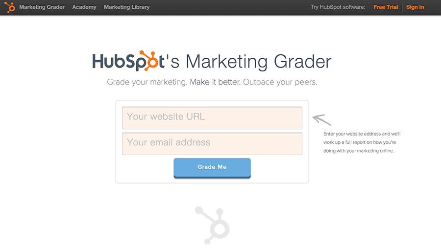Persuasion: Hubspot Grader example