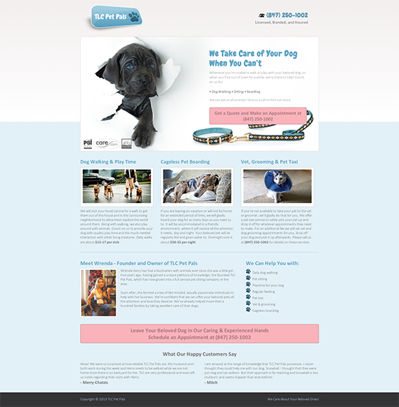 Landing Page example: Pet Pals