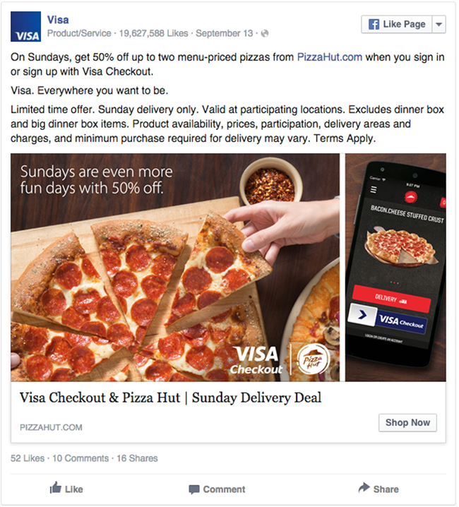 Visa and Pizza Hut facebook ad example critique