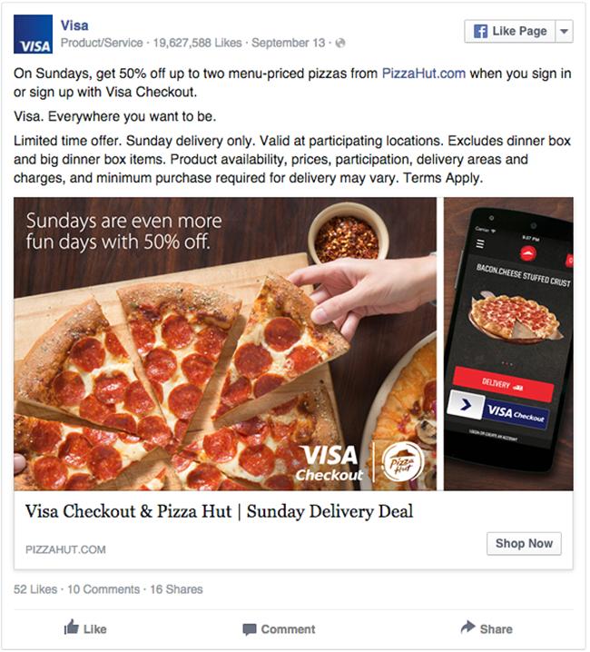 Visa and Pizza Hut facebook ad example critique