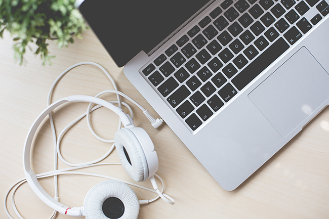 macbook and headphones