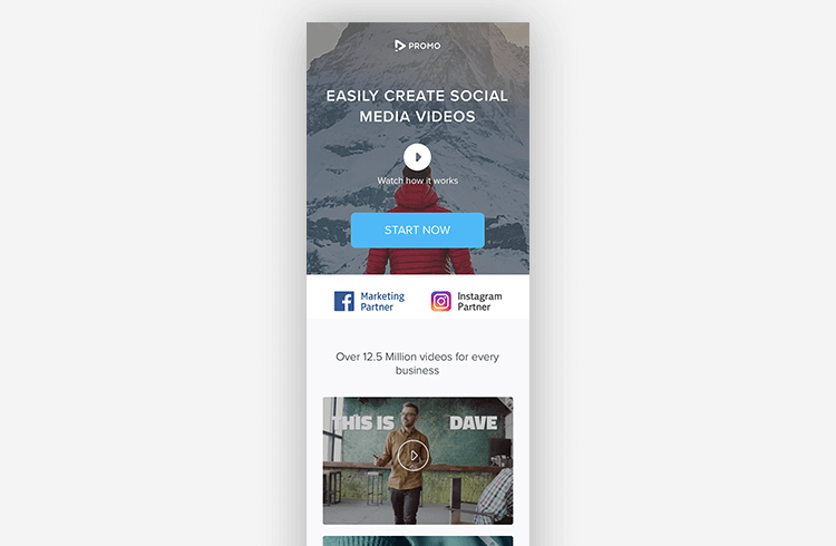 Mobile Landing Page Examples: Promo