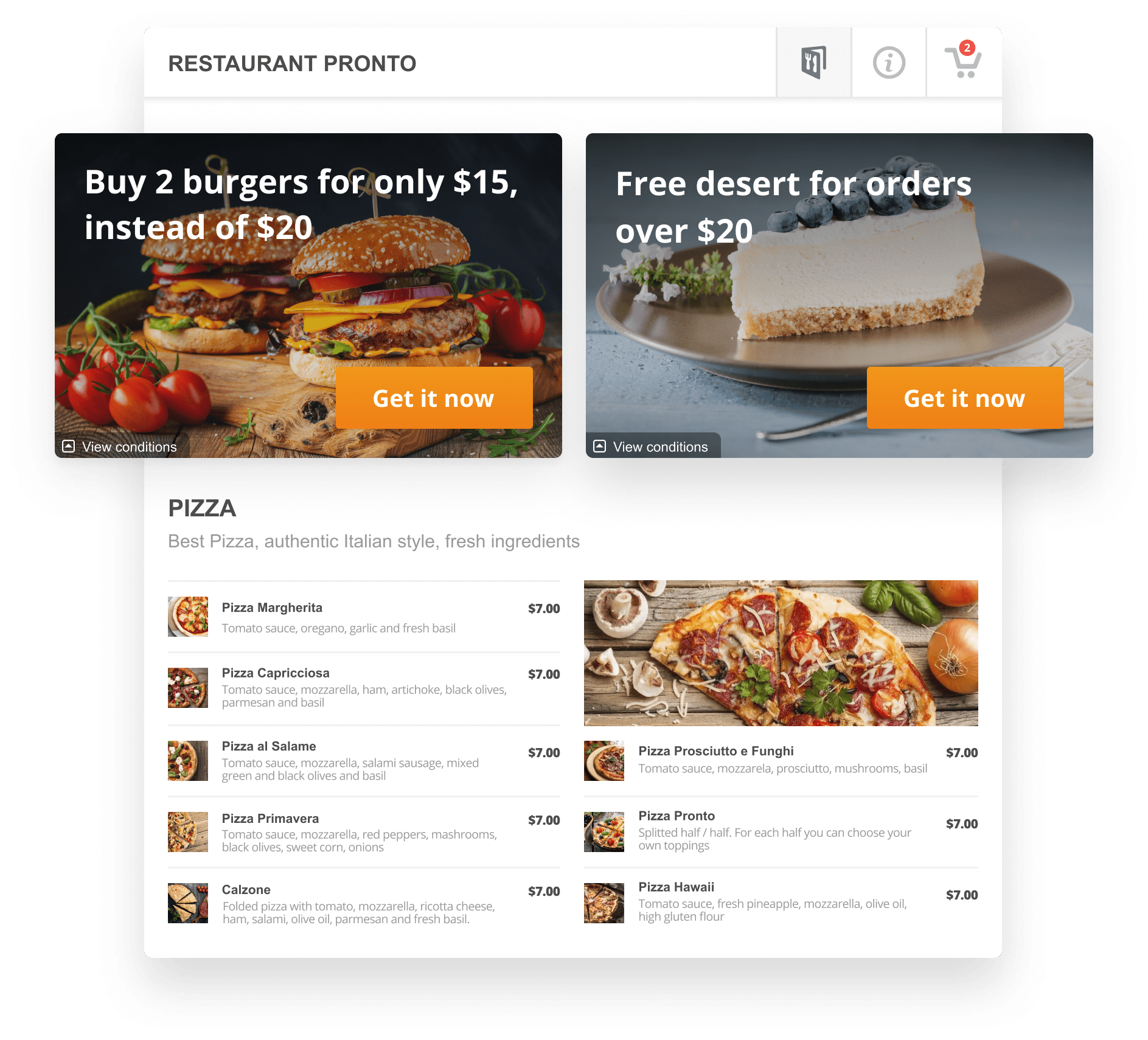 Restaurant Landing Pages Promotions