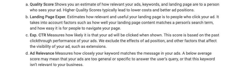 Attributs de niveau de qualité - Google Ads