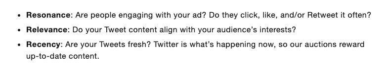 Attributs de niveau de qualité - Publicités Twitter