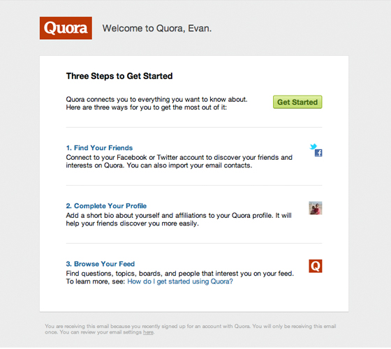 Quora welcome email example