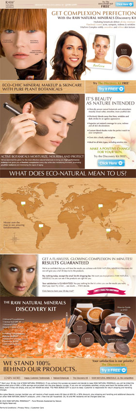 Raw Natural Beauty landing page