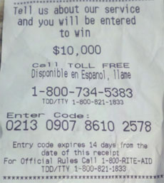 Rite Aid receipt with satisfaction survey promo code