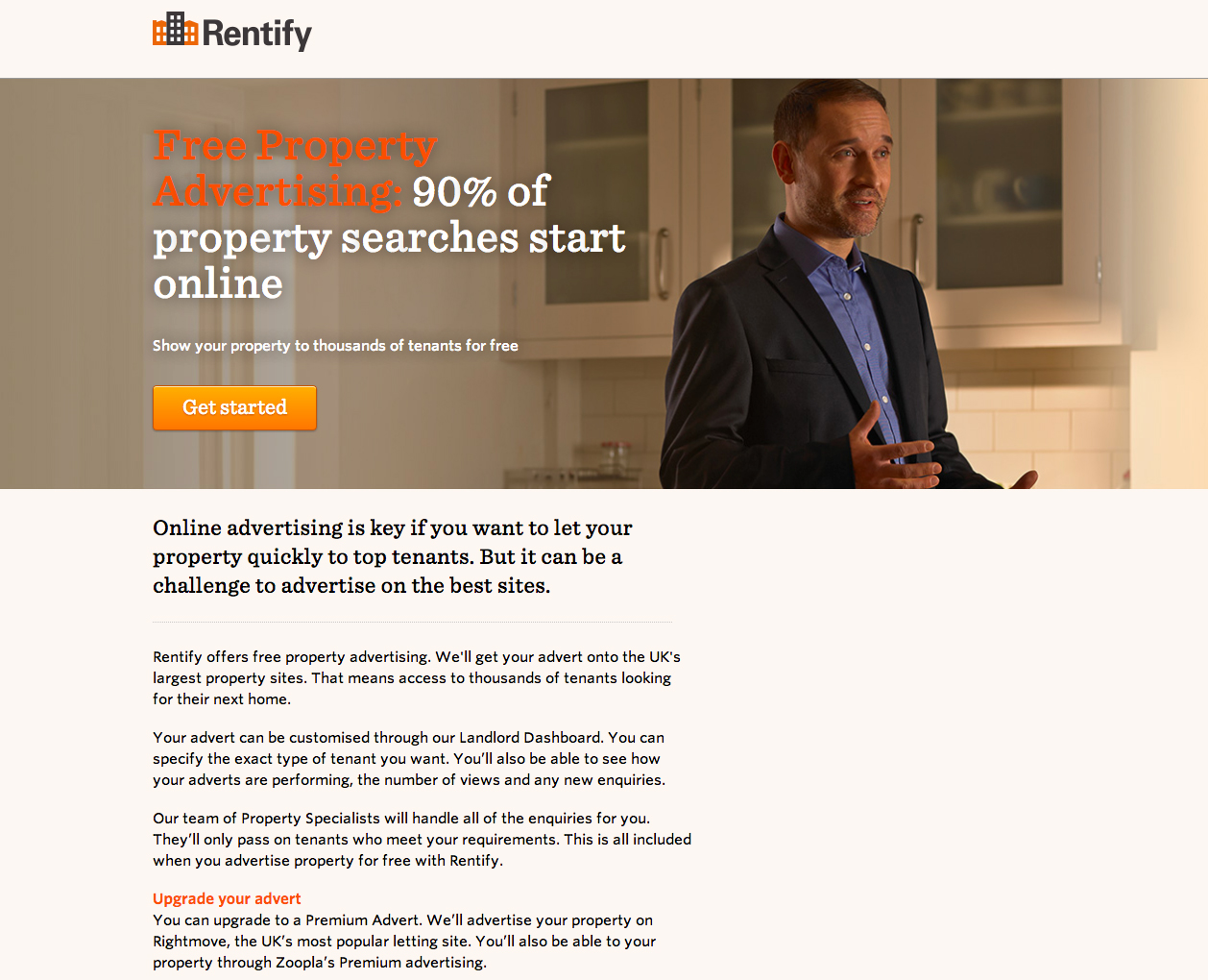 Rentify landing page example 2
