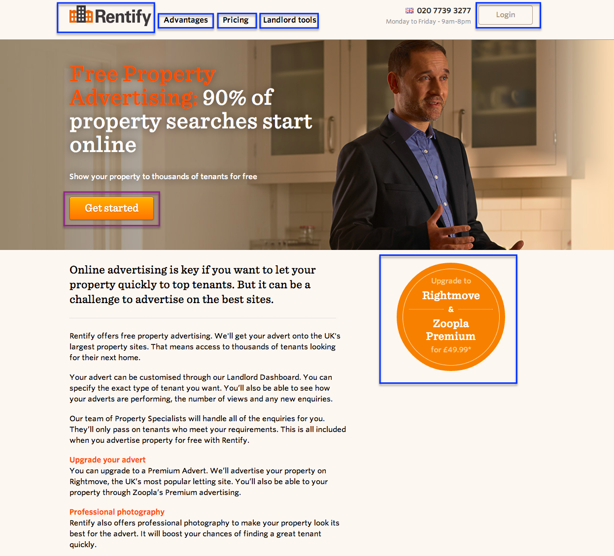 Rentify landing page example