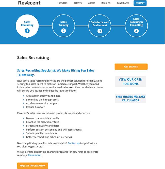 Revecent service page