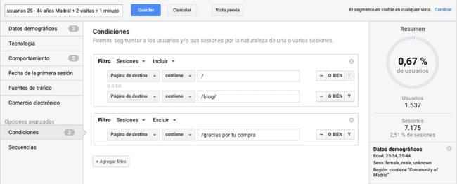 ES Crear un segmento y una audiencia personalizados para hacer remarketing en Adwords