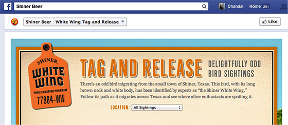 Native advertising: Shiner beer Facebook page