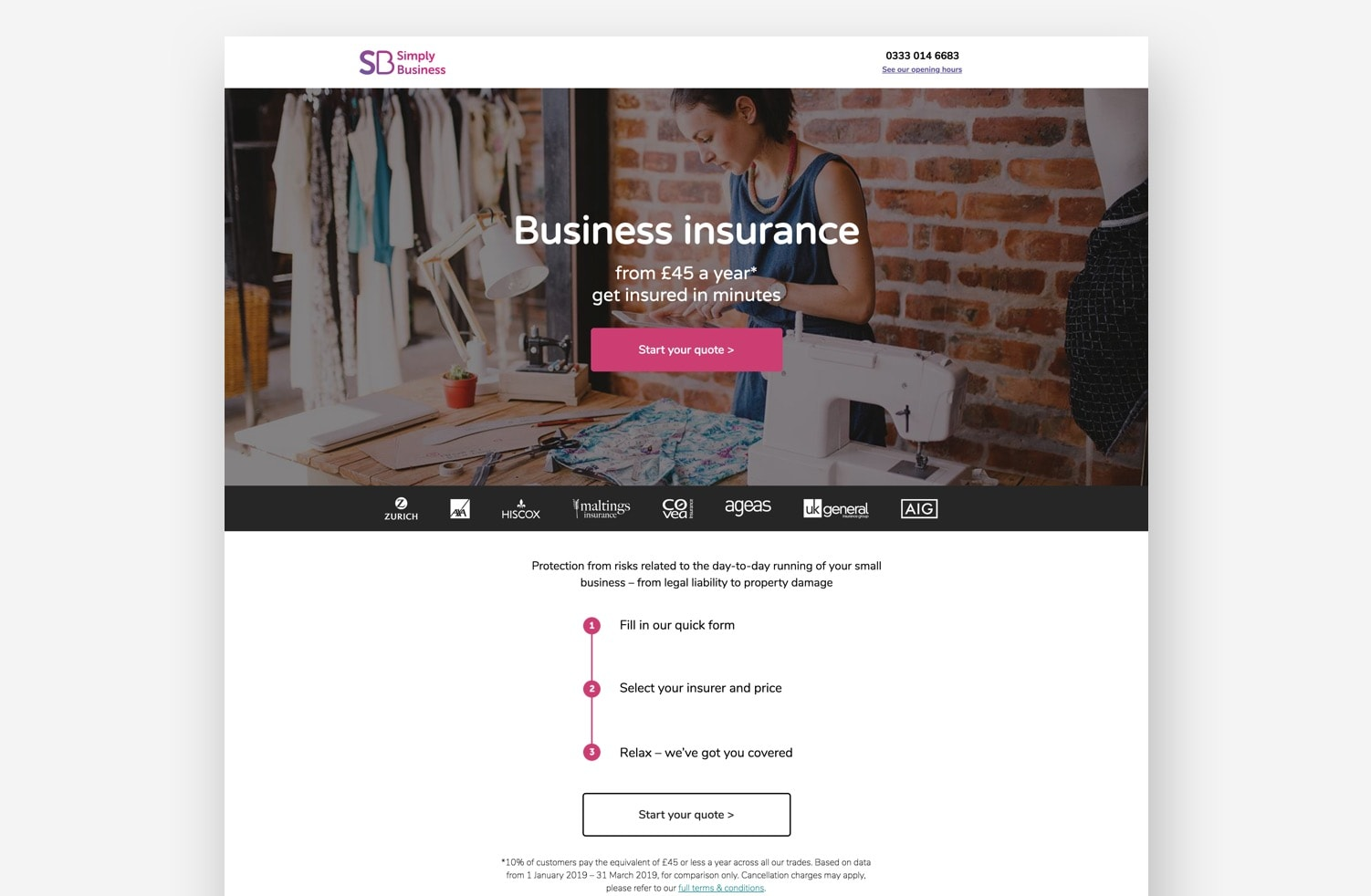 High-Converting Landing Page: Simply Business