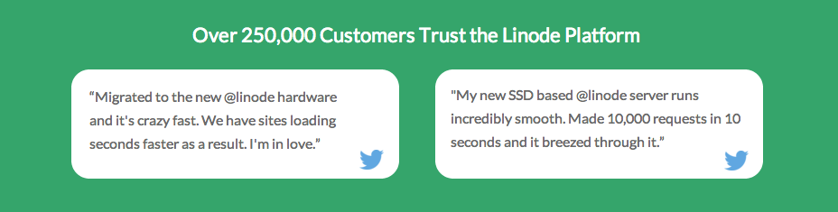 Social proof: Linode example