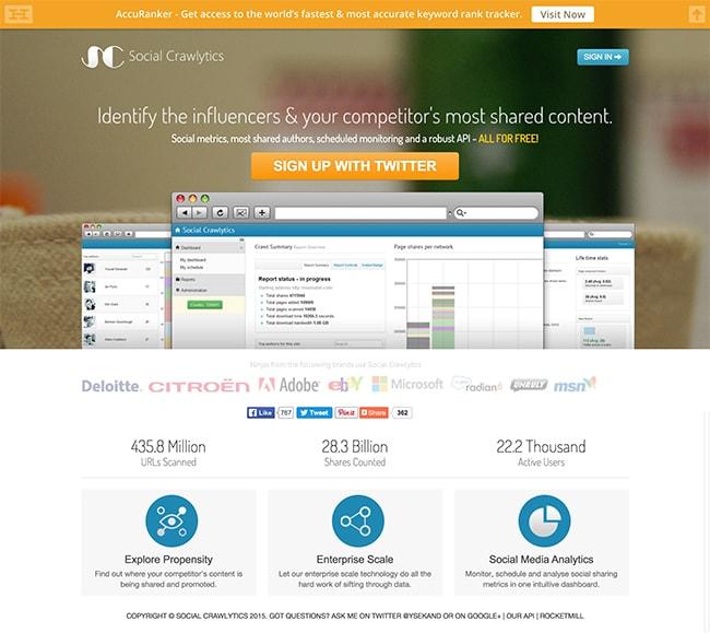 Spefic screenshot of social tool