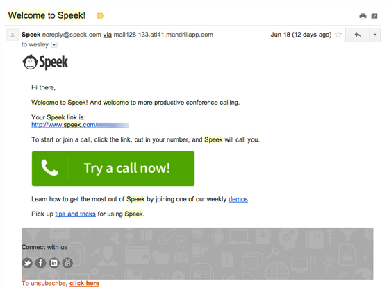 Speek welcome email example