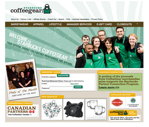 Starbucks coffee landing page