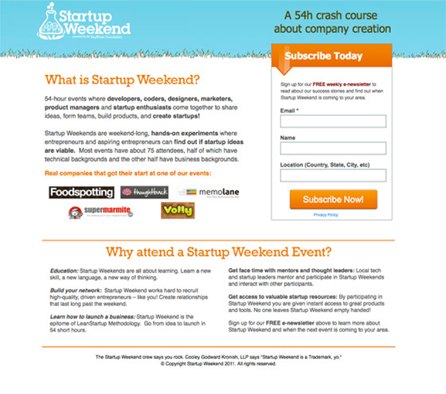 Startup Weekend landing page copy