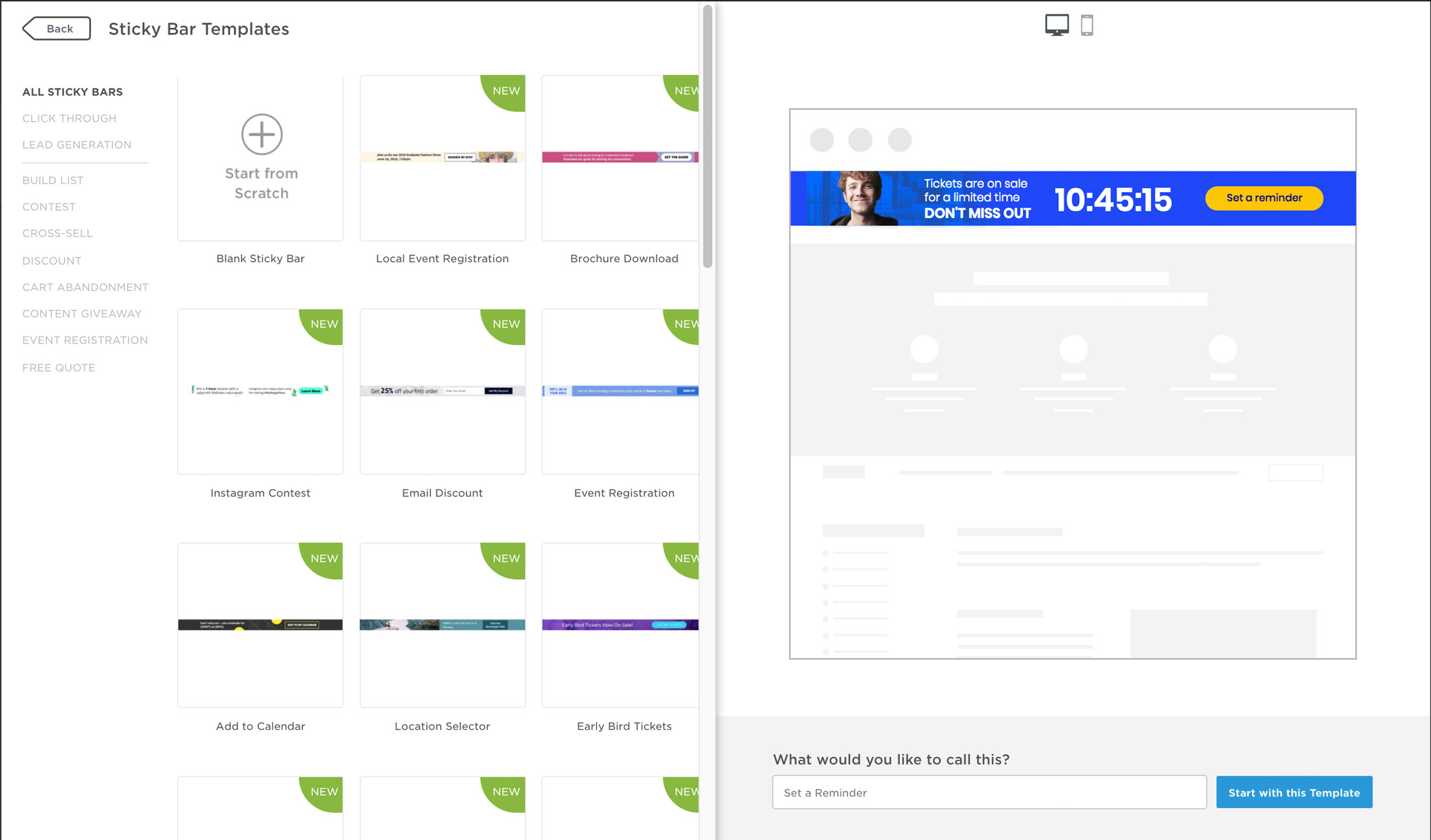 9 Creative Sticky Bar Examples - Plus 21 New Unbounce Templates