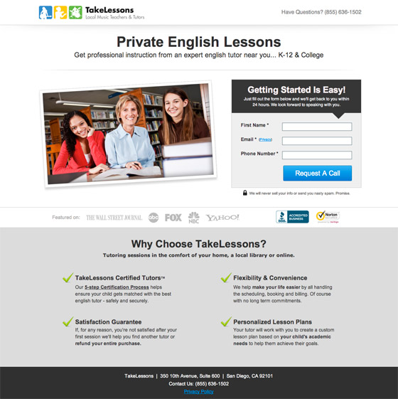 takelessons landing page example