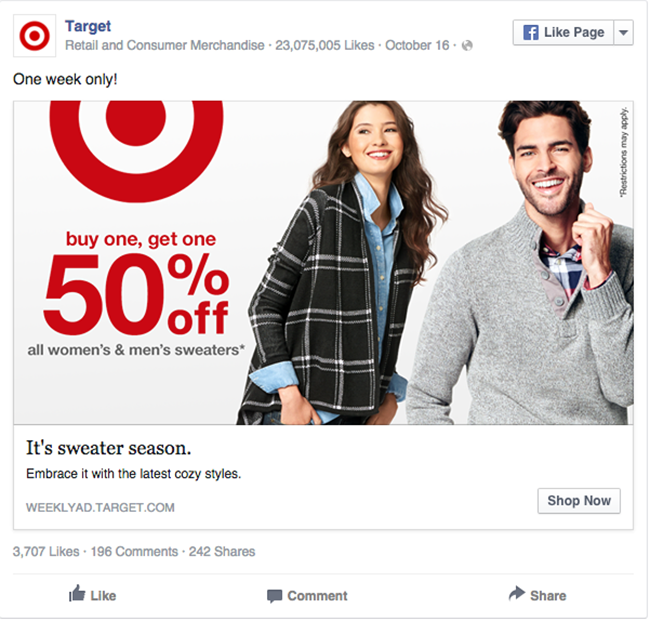Target facebook ad example critique